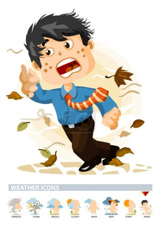 Illustration for Windy or Autumn. Weather Icon with illustration in Detailed Vector - Royalty Free Image