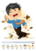 Windy or Autumn Weather Icon with illustration in Detailed Vector