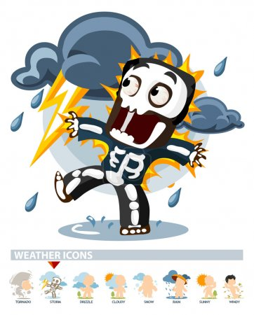 Illustration for Thunderstorm. Weather Icon with illustration in Detailed Vector - Royalty Free Image