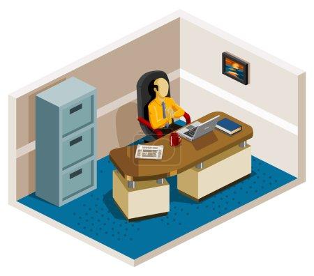 Illustration pour Patron de la série Isometric de son bureau. Composez votre propre monde facilement avec des œuvres isométriques . - image libre de droit