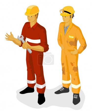 Illustration for Oil and Construction Worker. Isometric Series. Compose Your Own World Easily with Isometric Works. - Royalty Free Image