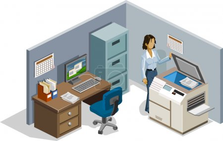 Illustration for Staff on Photocopy. Isometric Series. Compose Your Own World Easily with Isometric Works. - Royalty Free Image