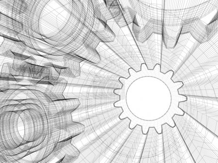 Photo pour Dessin industriel de fond. Illustration de cadre en fil 3D . - image libre de droit