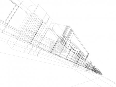 Photo for 3D rendering wireframe of office building. Concept - modern architecture and designing - Royalty Free Image