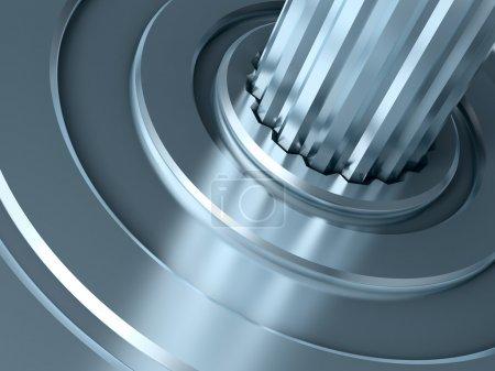 Photo pour Partie du mécanisme abstrait close-up. Illustration 3D . - image libre de droit