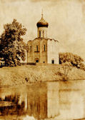 Aged picture with lake and church