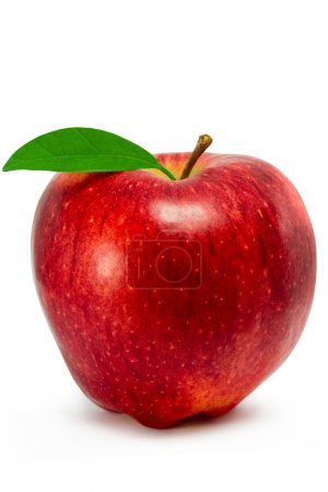 Photo for Red apple with leaf isolated on white background - Royalty Free Image