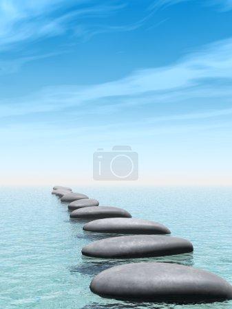Photo pour Pierres dans l'eau. le pont abstrait dans l'océan d'un caillou - image libre de droit