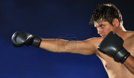 Photo for The boxer. The young man in boxing gloves - Royalty Free Image