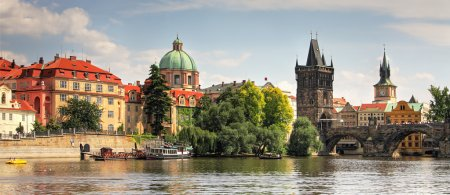 Photo for Panoramic view Charles Bridge and Vltava River in Prague, Czech Republic. - Royalty Free Image