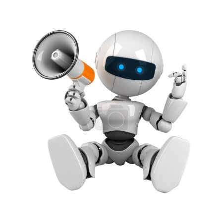 Funny robot sit with megaphone