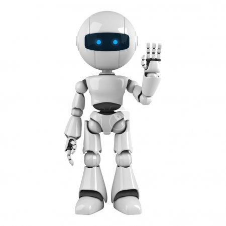 Photo pour Drôle de robot séjour et afficher Bonjour - image libre de droit