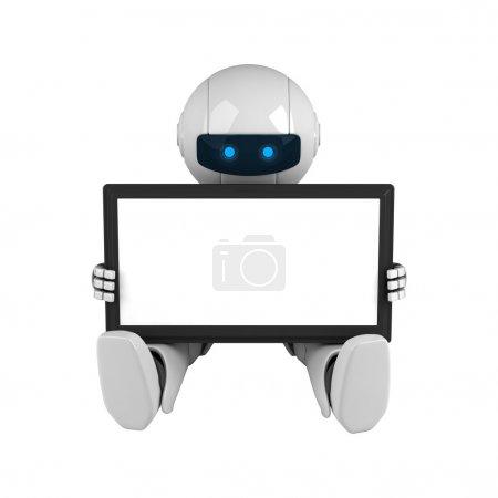 Photo pour Robot blanc drôle tenir ordinateur tablette numérique - image libre de droit