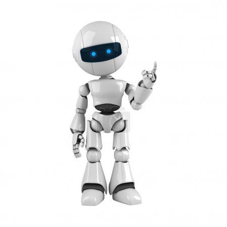 Photo pour Robot drôle rester et montrer l'attention de la main et des doigts - image libre de droit