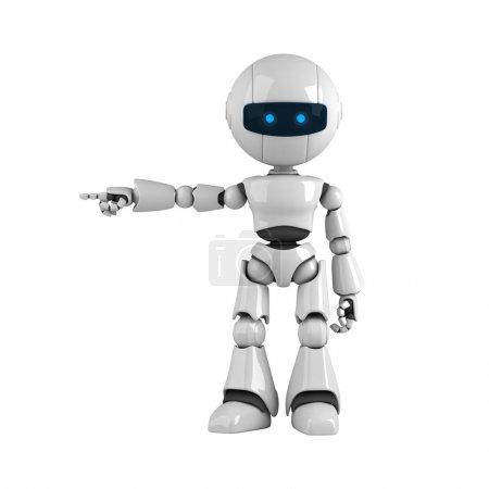 Photo pour Drôle de robot blanc séjour et voir la main et des doigts - image libre de droit