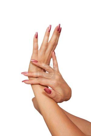 Photo pour La femme qui s'occupe des mains. Isolé sur fond blanc - image libre de droit