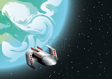 Illustration for Vector illustration of space ship in orbit - Royalty Free Image