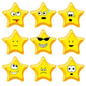 Set of nine cartoon gold stars Vector illustration