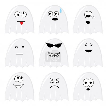 Illustration for Set of nine cartoon ghosts. Vector illustration. - Royalty Free Image