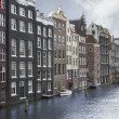Amsterdam canals and typical houses on a blue sunn...