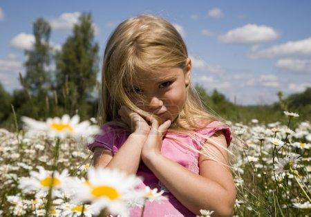 Photo pour Portrait d'une fillette dans le champ de la camomille - image libre de droit