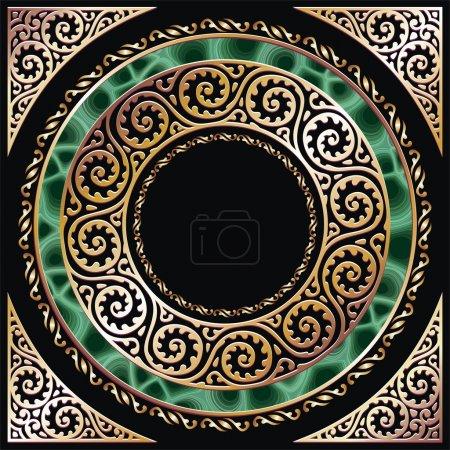 Photo pour Cadre cercle doré avec malachite. séparés par des couches et des groupes pour l'édition facile - image libre de droit