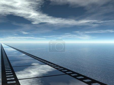 Photo pour Poster paysage marin pour présentation de cinéma - image libre de droit