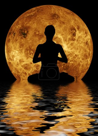 Photo for Yoga on moon and water background - Royalty Free Image