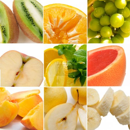 Photo for Colorful healthy fruit collage made from nine photographs - Royalty Free Image