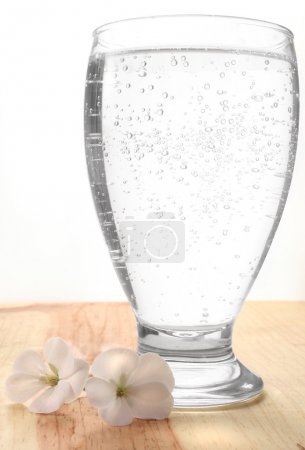 Glass with sparkling water