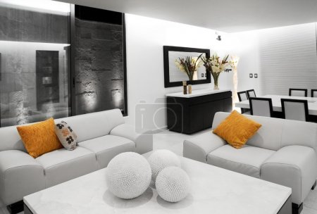 Photo for Contemporary living room with leather sofas - Royalty Free Image