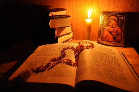Holy Bible & Russian icon