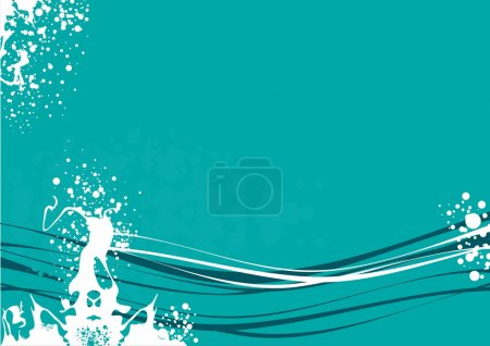 Illustration pour Fond d'écran avec l'image de lignes ondulées avec éclaboussures de peinture dans les tons bleus - image libre de droit