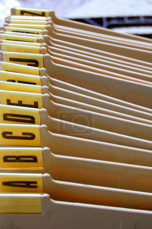 Office filing tray index. Alphabetical documents o...