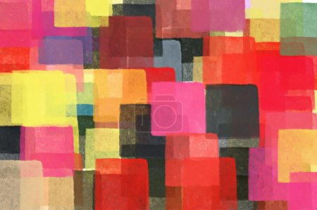 Colorful squares pattern illustration. Brush paint...