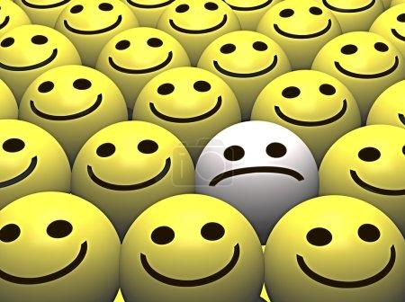 Photo pour Un smiley triste se démarque de la foule de smileys heureux - image libre de droit