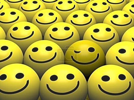 Photo pour Un smiley clignotante se démarque de la foule - image libre de droit