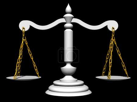Photo pour Échelles blanches avec chaînes dorées - image libre de droit