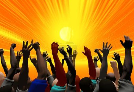 Photo pour Une foule applaudit et applaudit - image libre de droit