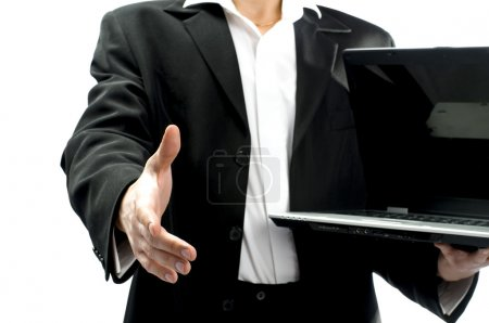 Photo pour Busnessman en costume offrant de faire un contrat - image libre de droit