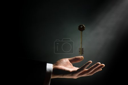Photo for A man pointing to the gold key - Royalty Free Image