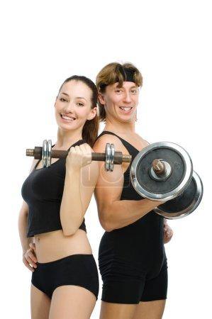 Photo pour Homme et fille vont dans le sport - image libre de droit