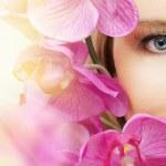 The macro image of the beauty eye...