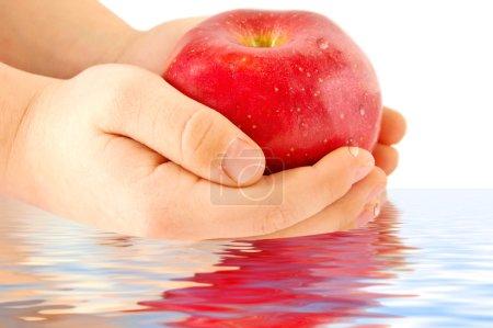 Photo pour Les mains de l'enfant tenant une pomme rouge - image libre de droit