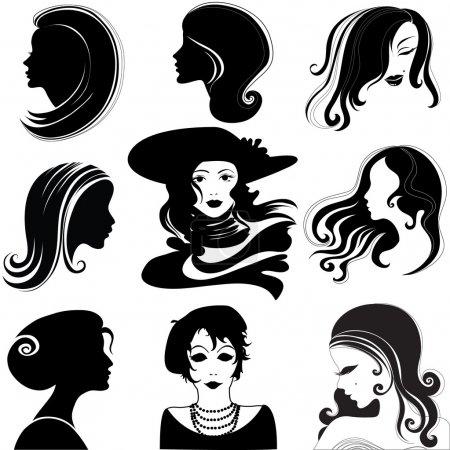 """Illustration pour Ensemble vectoriel de silhouette rapprochée portrait de belle femme aux cheveux longs (De ma grande collection """"Vintage femme  """") - image libre de droit"""