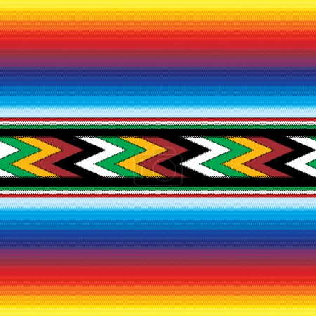 Illustration for Seamless colorful mexican fabric pattern - Royalty Free Image