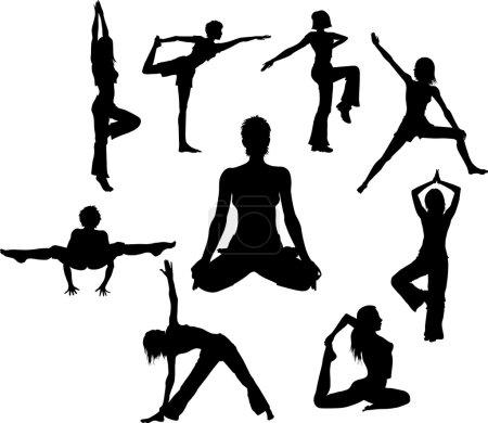 Yoga asana silhouettes