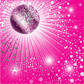Vector background - pink CD Cover design with disco-ball and glitters