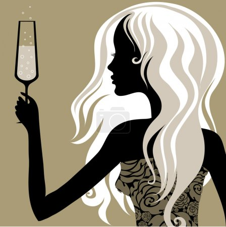 "Illustration for Closeup decorative vintage blond woman with glass of champagne (From my big ""Vintage woman collection"") - Royalty Free Image"
