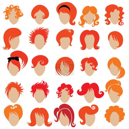 Illustration for Big set of vector red hair styling 3 - Royalty Free Image